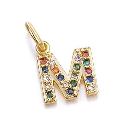 QXLG Pulsera 13 * 6mm A-Z Colorful Zircon Letra Charms DIY Pequeño Encanto Inicial Colgante para; Pulseras de joyería Exquisito (Metal Color : Gold Letter M)