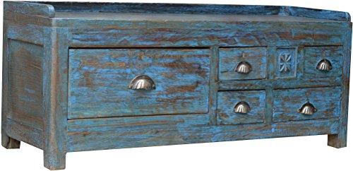 Guru-Shop Antieke Bijzettafel, Opbergtafel met Vijf Laden, Antiek Blauw, Mangobos, 42x106x32 cm, Salontafels Vloertafels