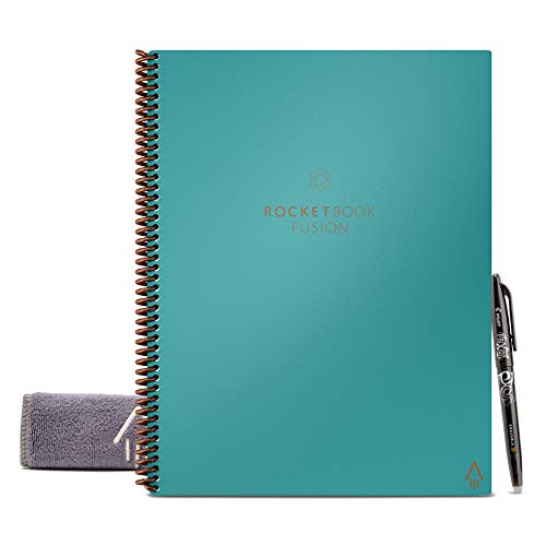 Rocketbook Fusion Smart Reusable Notebook - Calendar, To-Do Lists, and Note Template Pages with 1 Pilot Frixion Pen & 1 Microfiber Cloth Included - Neptune Teal Cover, Letter Size (8.5' x 11')