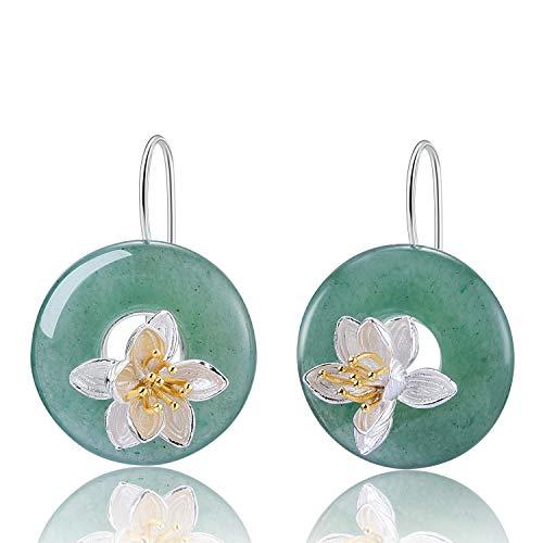 Pendientes Lotus Fun S925 de plata de ley con piedras preciosas de loto con forma de gota y aventurina natural, hechos a mano, joyas ¨²nicas para mujeres y ni?as