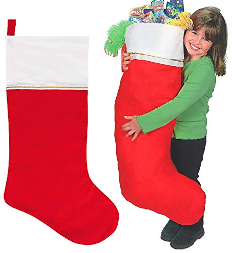 4E's Novelty Jumbo Christmas Felt Stocking 45 Inches, Pack of 2, Holiday Party Favors Supplies, Giant, for Children Gifts