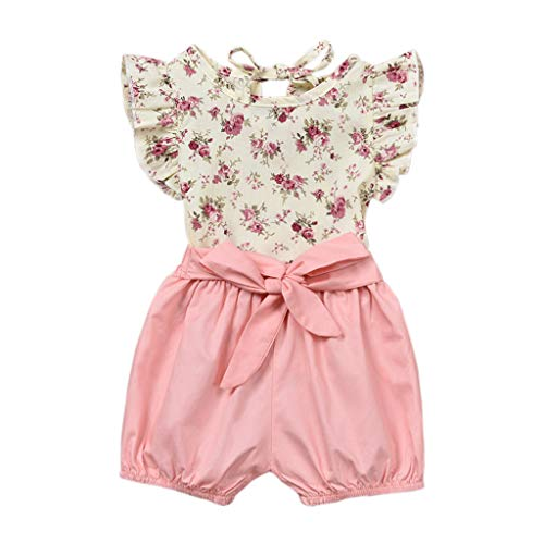 cover Babykleidung Mädchen Sommer, Kleinkind-Baby Mädchen Tops Ärmellos Blumenmuster Bluse + Einfarbig Kurze Hose Outfits Set Bekleidungssets (Rosa, 6-12 M)