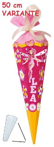 alles-meine.de GmbH BASTELSET - Schultüte - MIA and ME 50 cm - mit / ohne Kunststoff Spitze - Zuckertüte Nestler - ALLE Größen - 6 eckig Mädchen Pferde Blumen Einhörner rosa Schm..
