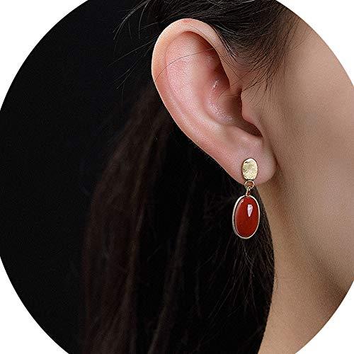 Jade Natürlicher Achat Edelstein Ohrringe Sterling Silber Überzug Gold Tropfen Kronleuchter Einfaches Design Schmuck,Red