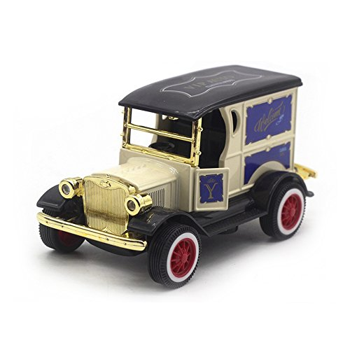 LW Model T Vintage Cars Retro Style 1:32 Scale Diecast car Model Collection Light&Sound (Yellow)