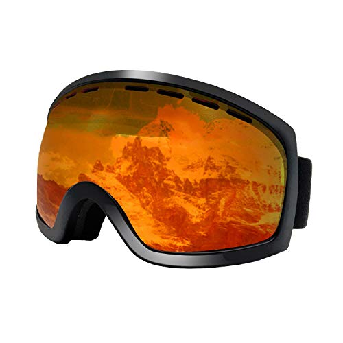 ReHaffe Night Ski Goggles, OTG Snowboard Goggles Orange Lens Anti Fog UV Protection Scratch Resistance and Helmet Compatible for Men Women Youth Teens