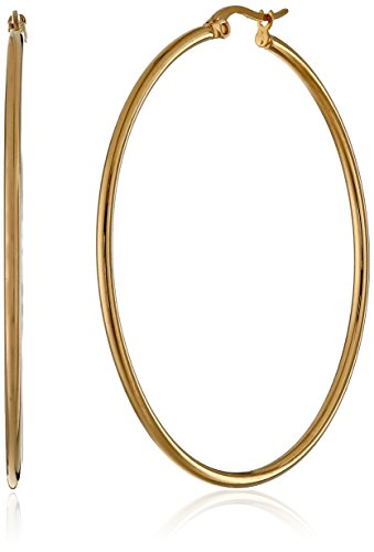 Amazon Essentials Yellow Gold Plated Stainless Steel Rounded Tube Hoop Earrings (50mm)