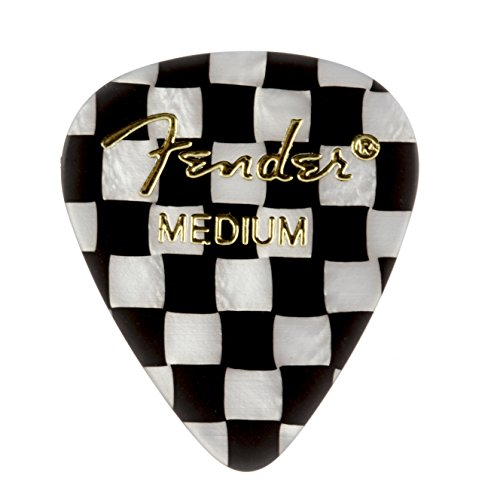 Fender 351 Shape Graphic Picks (12 Pack) for electric guitar, acoustic guitar, mandolin, and bass, 351 - Medium, Multicolor (Checker)