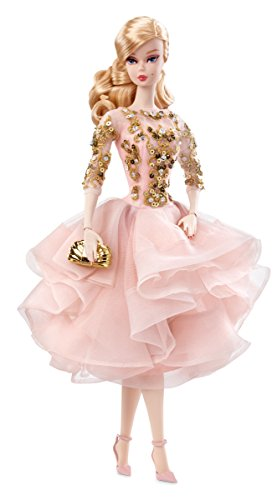 Barbie- Collectors Bambola Blush & Gold Cocktail Dress, DWF55