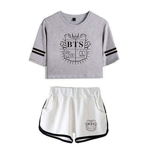 kexx BTS Ensemble T-shirt et short pour femme Tenue décontractée Imprimé Survêtement Kpop Bangtan Boys Fans Summer Sportswear Ensembles Gym Pyjama Cheerleading Uniforme Gris