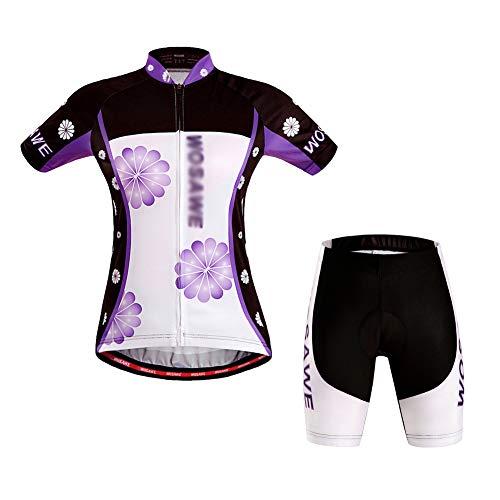 Herren Damen Fahrradtrikot Set Fahrrad Anzug Fahrradbekleidung Trikot Kurzarm + Radhose mit 3D Sitzpolster,Lila,S