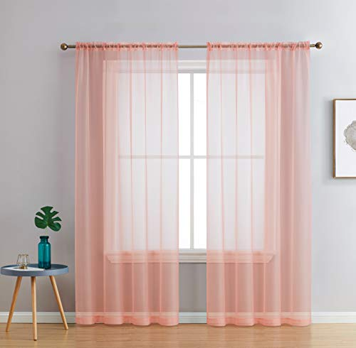 HLC.ME Peach Sheer Voile Window Treatment Rod Pocket Curtain Panels for Bedroom and Living Room (54 x 84 inches Long, Set of 2)
