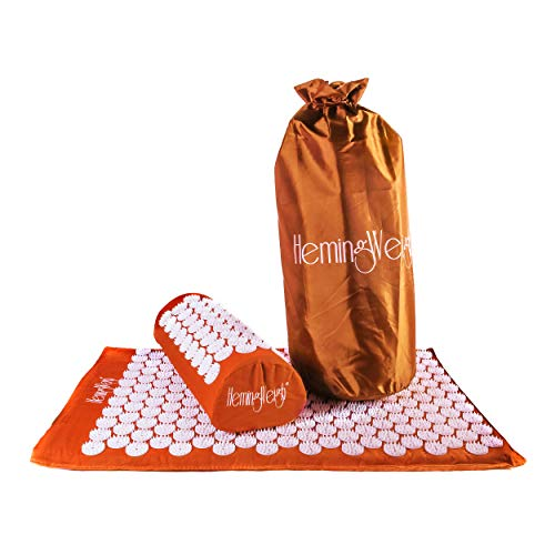 HemingWeigh Complete Acupressure Body Mat and Pillow Set with Bag for Neck Upper and Lower Back Pain Relief Orange