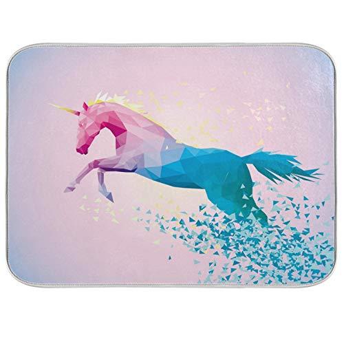 Ghypt - Escurridor para platos de cocina, diseño de unicornio, arcoíris y geometría absorbente, microfibra, antideslizante, secado rápido, lavable, para el hogar, 45,7 x 60,9 cm