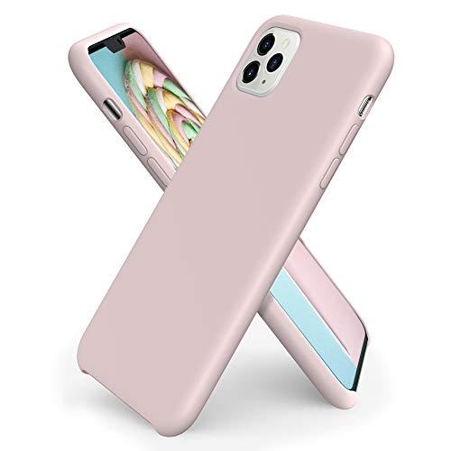 ORNARTO Funda Silicone Case para iPhone 11 Pro, Carcasa de Silicona Líquida Suave Antichoque Bumper para iPhone 11 Pro (2019) 5,8 Pulgadas-Rosa Arena