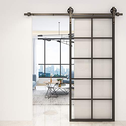 JUBEST 36in x 84in Glass French Barn Door, Clear Tempered Glass Aluminum Frame Sliding Barn Door Panel,Pre-Drilled Holes Easy Assembly