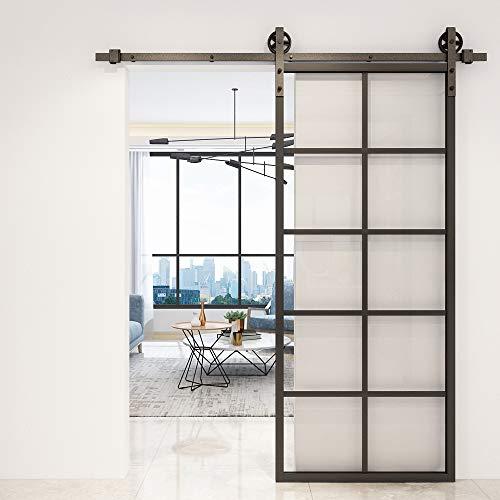 JUBEST DIY Glass Sliding Barn Door, 36in x 84in Modern French Door, Sturdy Clear Tempered Glass Aluminum Frame Sliding Closet Kitchen Door, Pocket Interior Door, Pre-Drilled Holes Easy Assembly