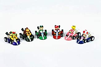 Azamon US Shop Cute Adorable Super Mario Bros Kart Kids Toys Pull Back Car 6pcs Action Figures Set Party Gift Attractive Gift Idea
