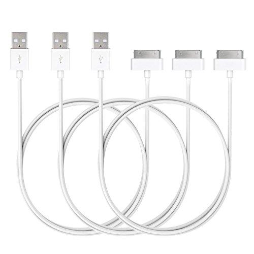 JETech USB Kabel für iPhone 4s, iPhone 4, iPhone 3G/3GS, iPad 1/2/3, iPod, 3 Stück, Weiß