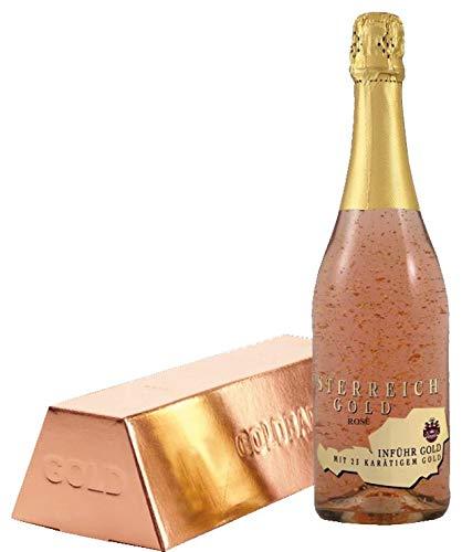 Austria Gold Rosé Espumoso con Copos de Oro de 23 Klt con Estuche Lingote Oro Rosa