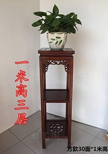 GETSO Chinesischer Stil Massivholz Blumenständer Ulme antikes Wohnzimmer Blumenregal mit Multi-Layer Innen-grün Bonsai Quadrat rot Holz: 100cm hoch 8