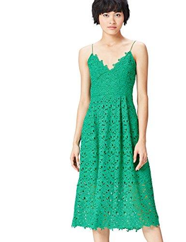 Amazon-Marke: find. Damen Midi A-Linien-Kleid aus Spitze, Grün (Green), 36, Label: S