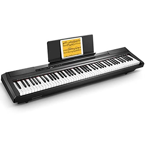 Donner Piano Numérique électrique 88 Touches Semi-lestées, Portable Clavier Fullsize pour Débutant avec Pédale et Enceintes Intégrées, DEP-10