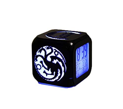 QMMCK Despertador Estéreo 3D Juego De Tronos Mute LED Night Light Dragón Cabeza De Tigre Despertador Electrónico Creativo De Moda De Siete Colores -USB De Carga