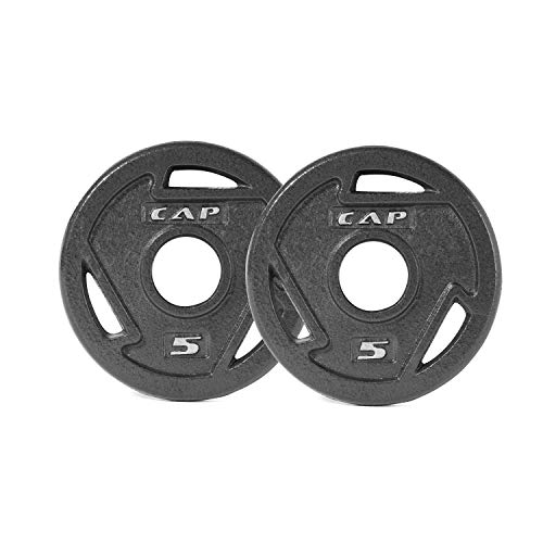 CAP Barbell Black 2-Inch Olympic Grip Plate, 5-Pounds, Pair