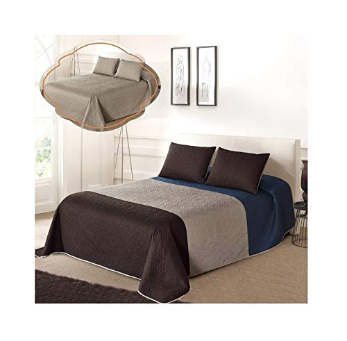 All American Collection Tri-Color Reversible Full/Queen Oversized Bedspread and Pillow Sham Set | Mix and Match for New Looks!