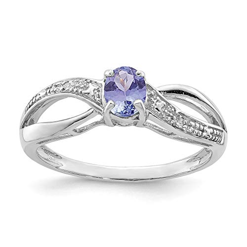 ICE CARATS 925 Sterling Silver Diamond Blue Tanzanite Band Ring Size 9.00 Gemstone Fine Jewelry Ideal Gifts For Women Gift Set From Heart