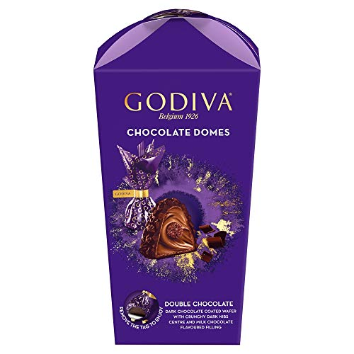 Godiva Chocolate Domes Double Chocolate Dark Chocolate Coated Wafer with Dark Nibs & Milk Chocolate Filling Gift Box, 120g
