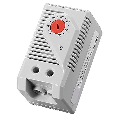 Nirmon Termostato MecáNico, KTO011 0-60Celsius Interruptor Controlador de Temperatura Compacto Ajustable Normalmente Cerrado (N.C), Rojo