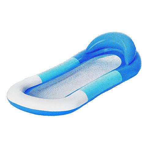 Luftmatratze mit Netz | Premium Aufblasbare Wasser-Hängematte | Wasserbett Luft-Matratze Wassermatte Strandmatratze mit Kopfpolster und Netzboden Netzeinsatz ideal für Pool für Kinder & Erwachsene