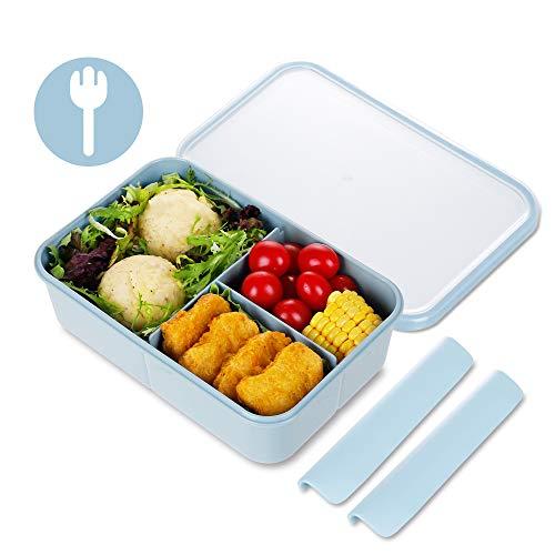 KIGI Bento Box,Lunch Box,Lunch Box per bambini, Adulti Bento Lunch Box con 3 scomparti 1150ml Contenitore per il pranzo con cucchiaio senza BPA (blu)