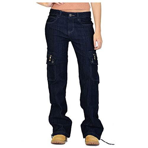 Xmiral Jeans Damen Breites Bein Denim Cargohose Große Größe Multi-Tasche Latzhose Taste Reißverschluss Länge Hosen Jogginghose(Blau,M)