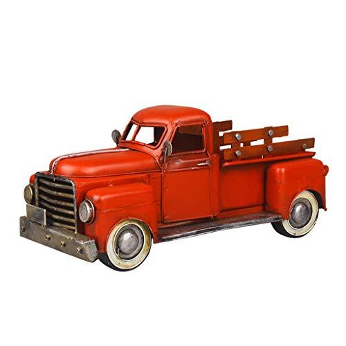 Adornos de figuras, decoración de camión rojo vintage, almacenamiento de mesa decorativo, planta de camión de metal pick-up rojo