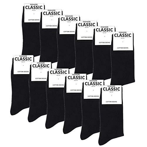 Falechay Herren Business Socken 12 Paar Classic Atmungsaktive Baumwolle, 43-46, 12 X Schwarz