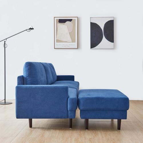 Modern Fabric Sofa L Shape, 3 Seater with ottoman-266cm Dark Blue