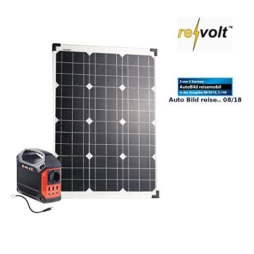 reVolt Solarpanel: Powerbank & Solar-Konverter mit 50-W-Solarzelle & Anschlusskabel, 42Ah (Solar Generator und Powerbank)