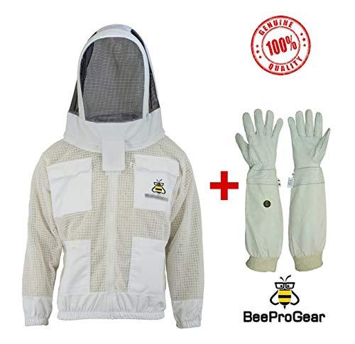 Professionelle Bienenweste 3-lagige Sicherheitsweste Unisex Imkerjacke Weiss, Bienenjacke Imker Hut Bienenmütze Imker Kostüm Imker, Large Without Gloves