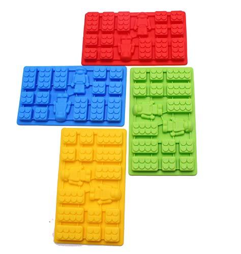 4 Pieces Minifigure Multi Bricks Ice Cube Trays & Candy Chocolate Molds