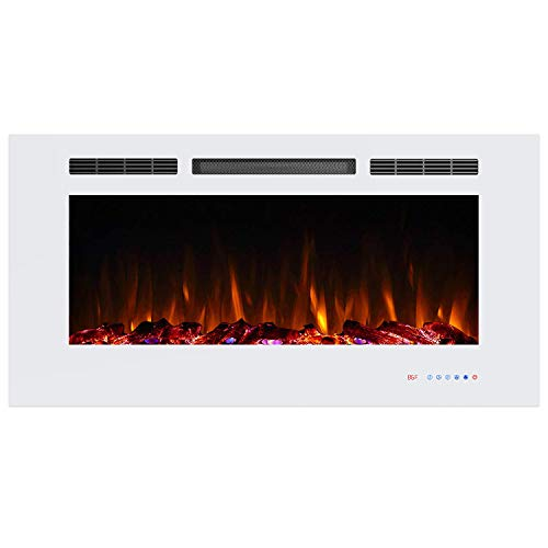 Valuxhome Electric Fireplace, 42 Inches Fireplace, Recessed Fireplaces for Living Room Electric with Remote, Overheating Protection, Logset and Crystal, Touch Screen, 1500W/750W, White