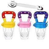 Chupete de fruta para bebés y niños pequeños con 3 tetinas S, M y L de silicona sin BPA más correa de seguridad de regalo (Rosa)