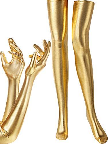 Damen Kostüm Set Elastisch Spandex Glänzend Nass Lange Handschuhe Und Wetlook Oberschenkel Hohe Strümpfe - Gold - Einheitsgröße