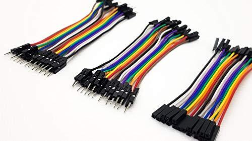 k.A Jumper Wire Kabel Male-Male + Male-Female + Female-Female Arduino Raspberry Pi Steckbrücken Drahtbrücken DIY Kit 60 x 10cm