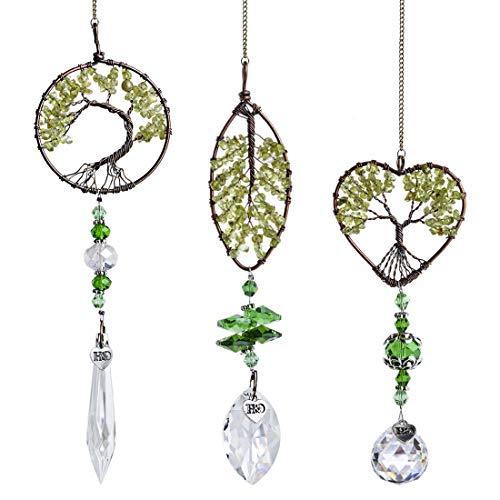 H&D HYALINE & DORA Regenbogen Sonnenfänger Metall Herzform Lebensbaum Anhänger Aufhängen Glas Kugel Prisma Fensterdekoration,3 Stück