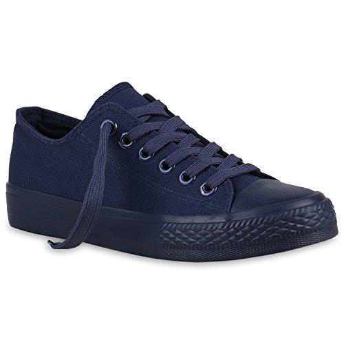 stiefelparadies Damen Sneakers Sport Sneaker Low Denim Stoff Blumen Camouflage Schuhe 123352 Dunkelblau Blue 37 Flandell