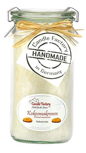 Candle Factory Mini-Jumbo Kerze im Weck-Glas in tollen Farben Duft: Kokosmakronen