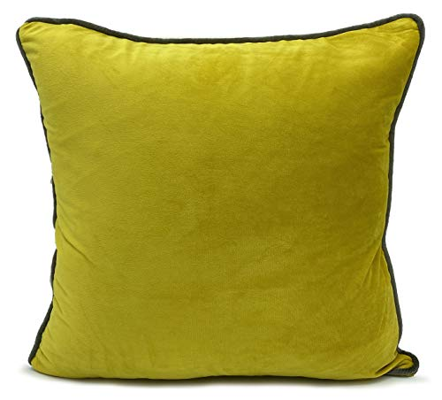 Large Cushions cover or filled cushion Velour ITALY Plush Velvet 2 tone PIPED | 17'X17' FILLED cushion | Mustard